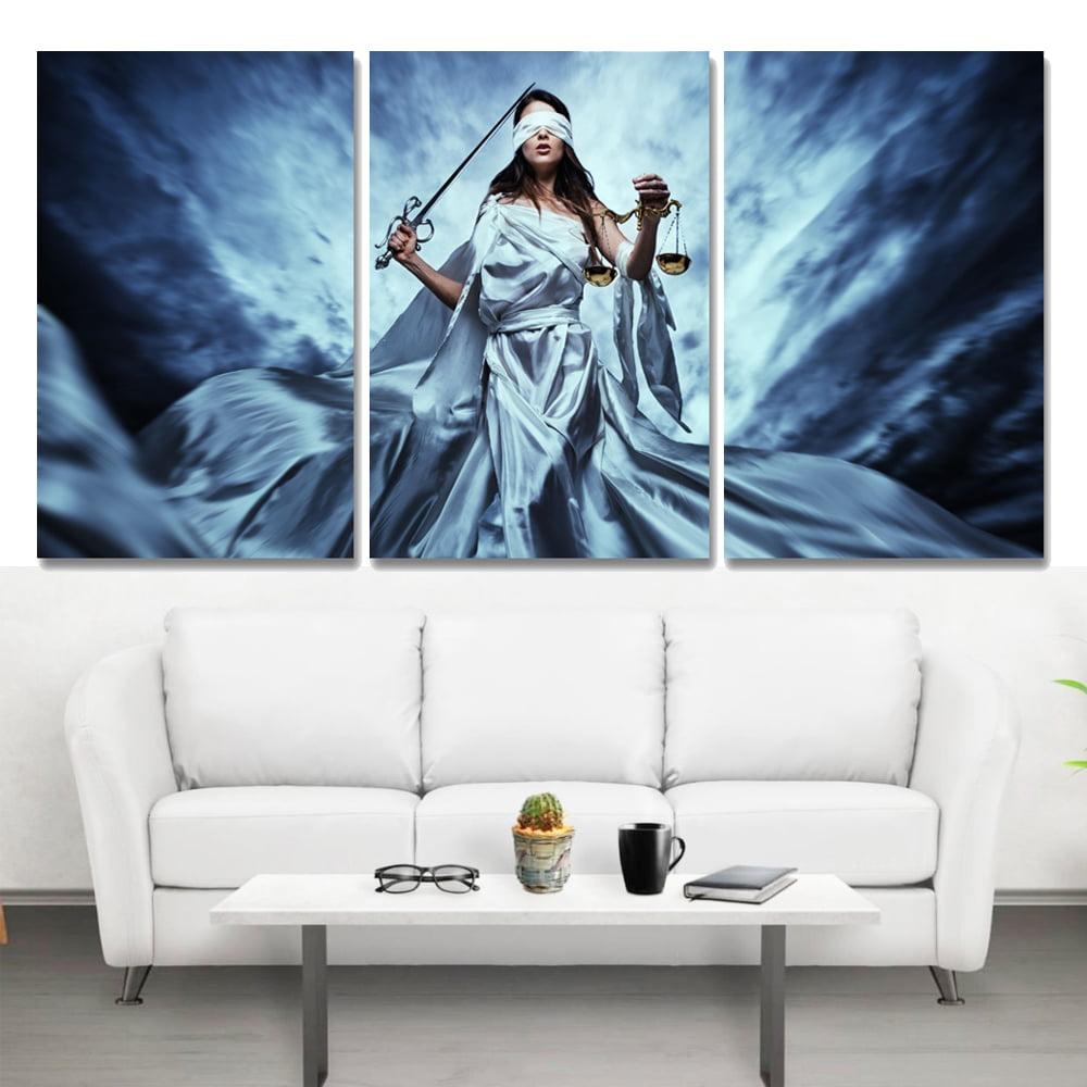 Conjunto 3 Telas em Canvas para Advocacia Deusa Themis Sky - Black Friday
