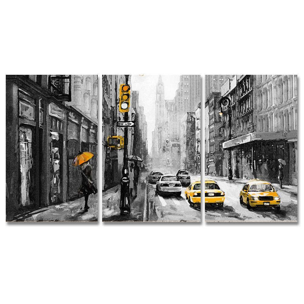 Conjunto de 3 Telas Decorativas em Canvas Corporativo New York Taxi - Preto e Amarelo