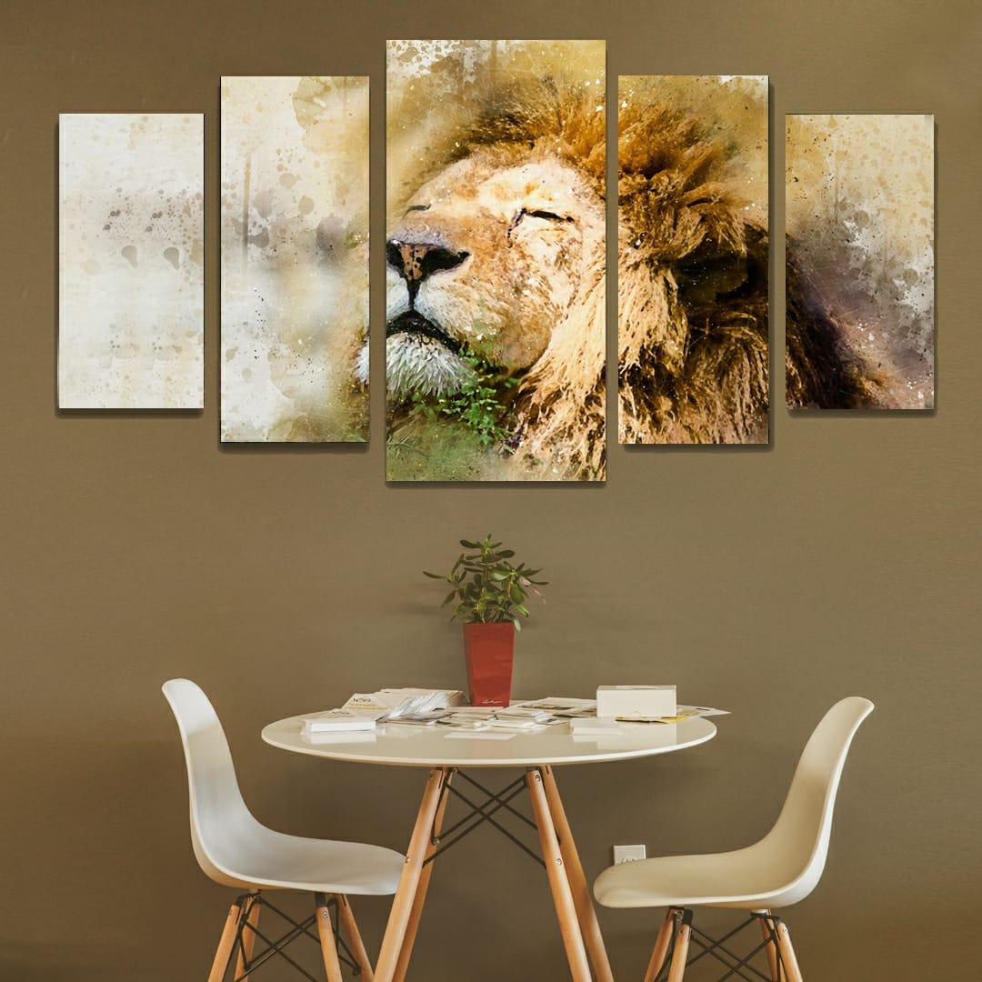 Conjunto de 5 Telas Decorativas Corporativo Leão de Juda Aquarela