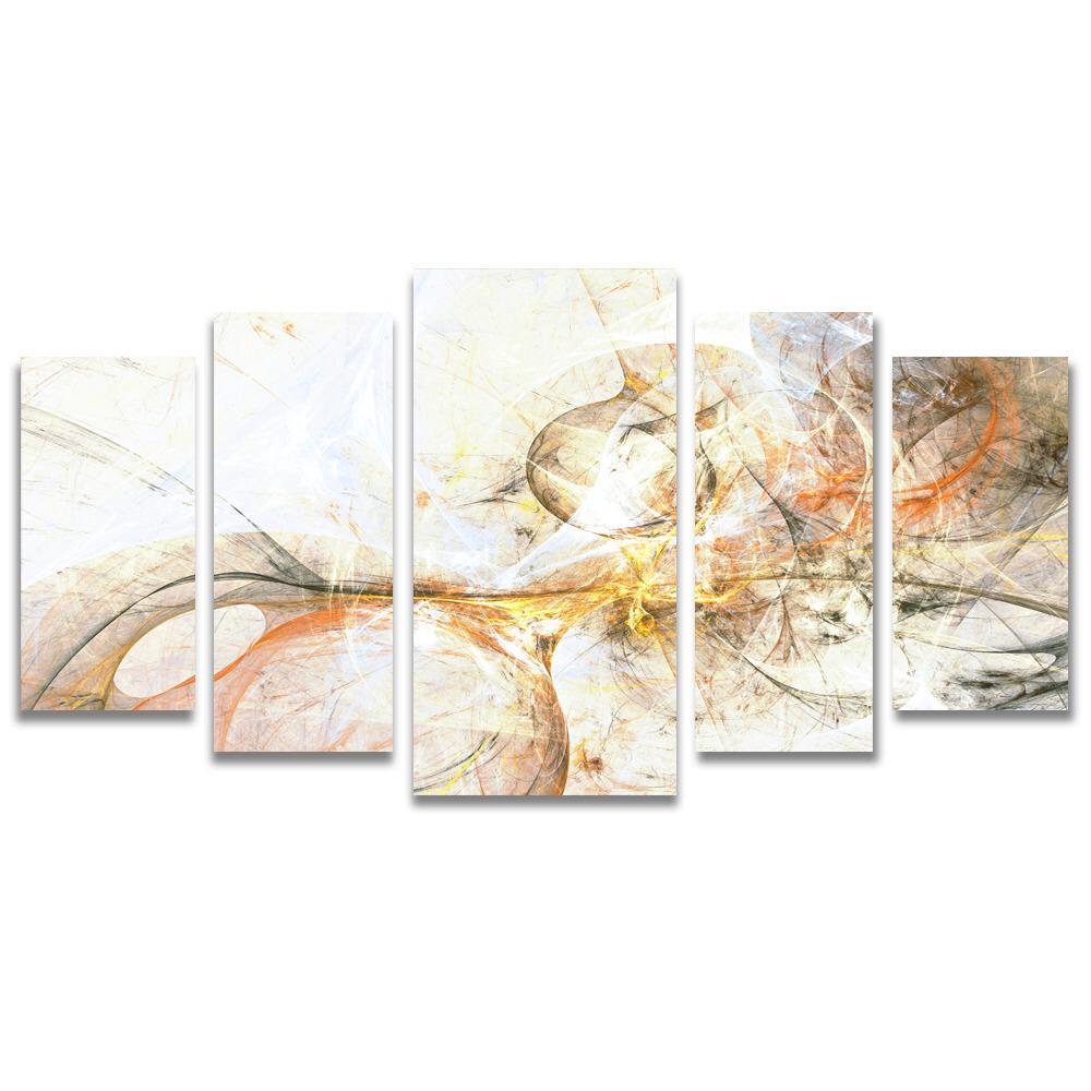 Conjunto de 5 Telas Decorativas em Canvas para Sala Abstrato - Nude
