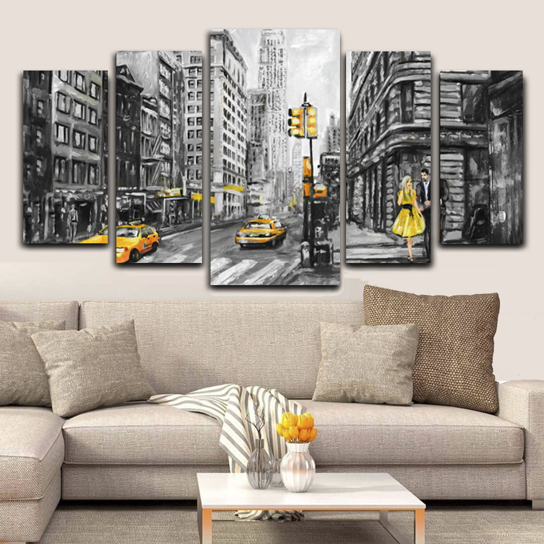 Quadro Canvas New York Yellow 5 Telas para Sala e Escritório - Black Friday