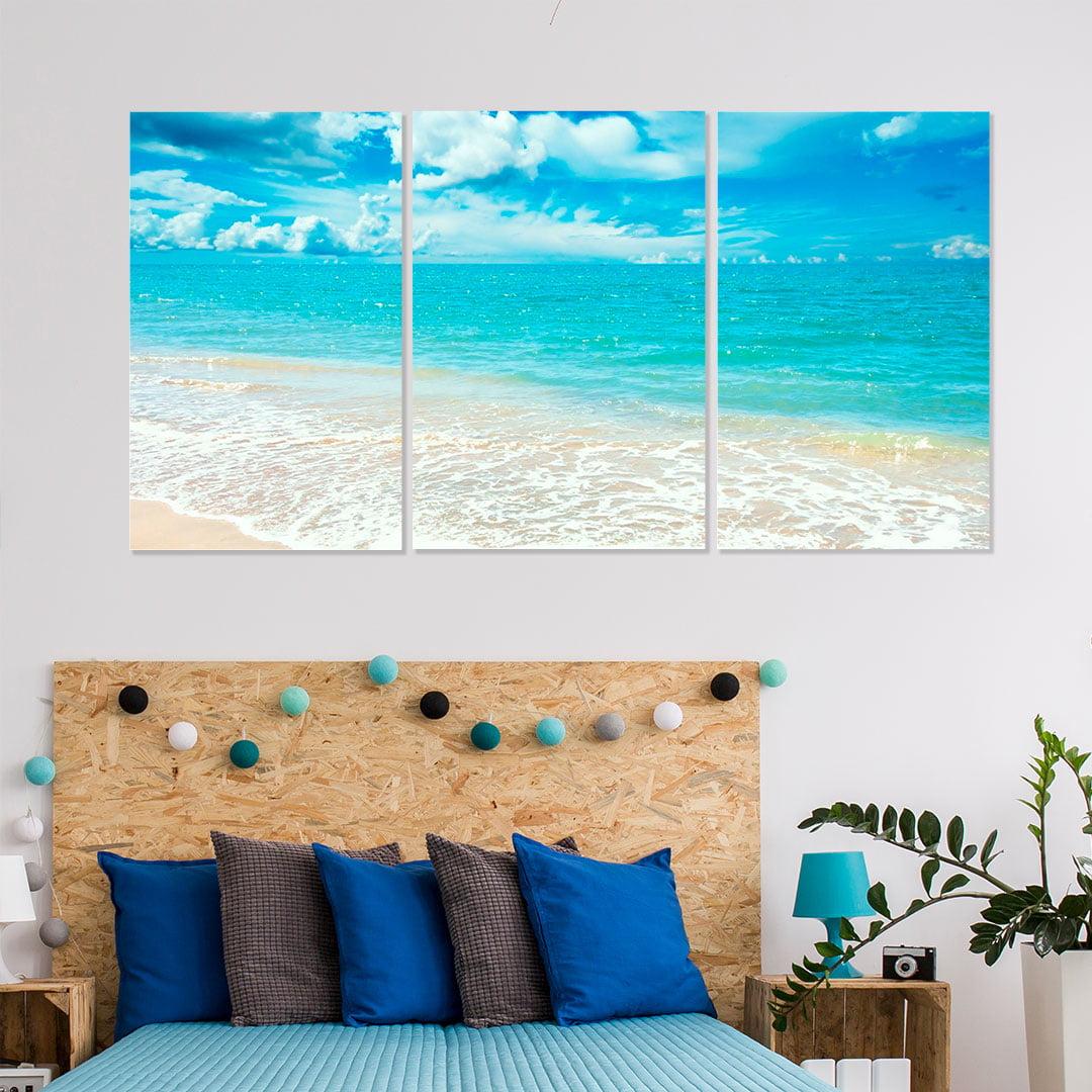 Conjunto de 3 Telas Decorativas Canvas para Quarto Casal Mar Azul - Praias