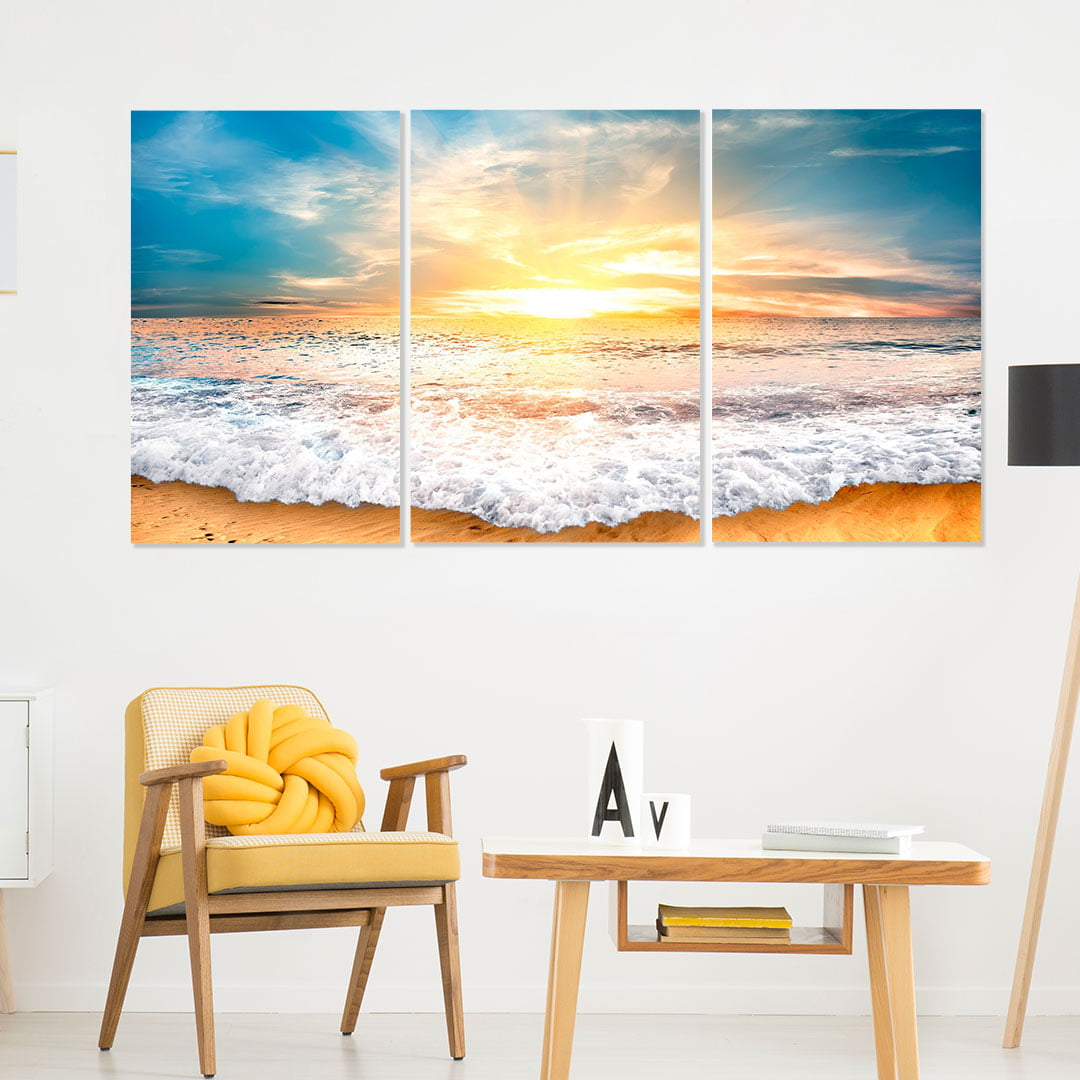 Conjunto de 3 Telas Decorativas Canvas para Sala Amanhecer - Praias