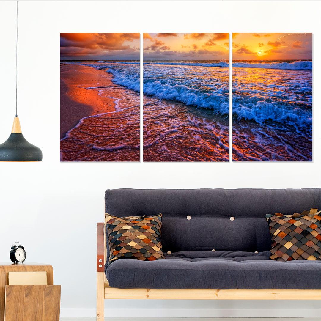 Conjunto de 3 Telas Decorativas Canvas para Sala Mar e Pôr do Sol III - Praias