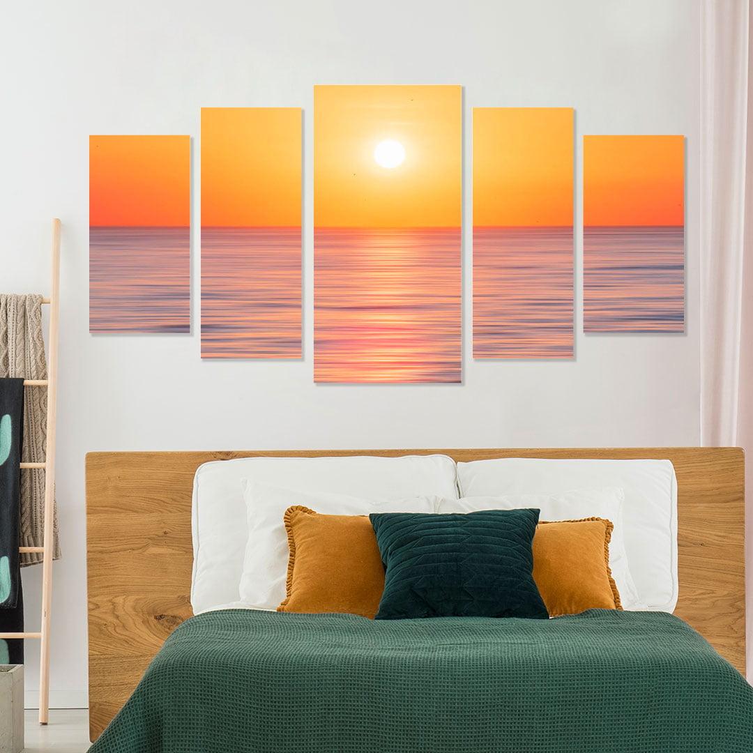 Conjunto de 5 Telas Decorativas Canvas para Sala Mar e Pôr do Sol - Praias