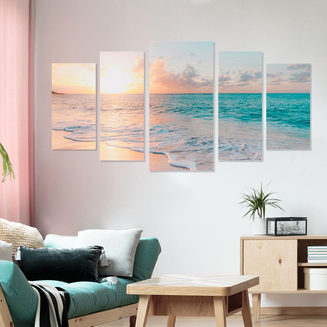 Conjunto de 5 Telas Decorativas Canvas para Sala Pôr do Sol - Praias