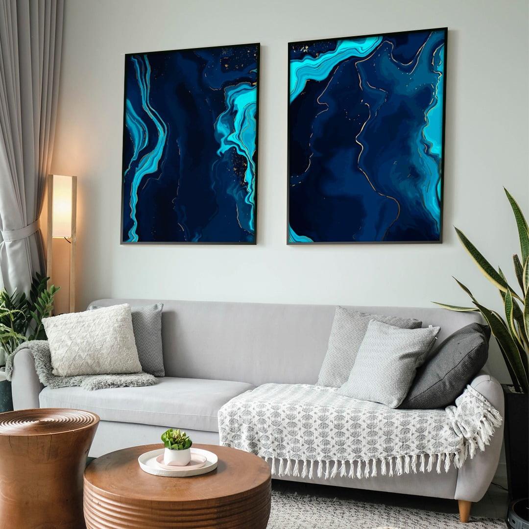 Conjunto de 2 Quadros Decorativos para Sala de Estar Abstrato Mar Azul - Linha Prime