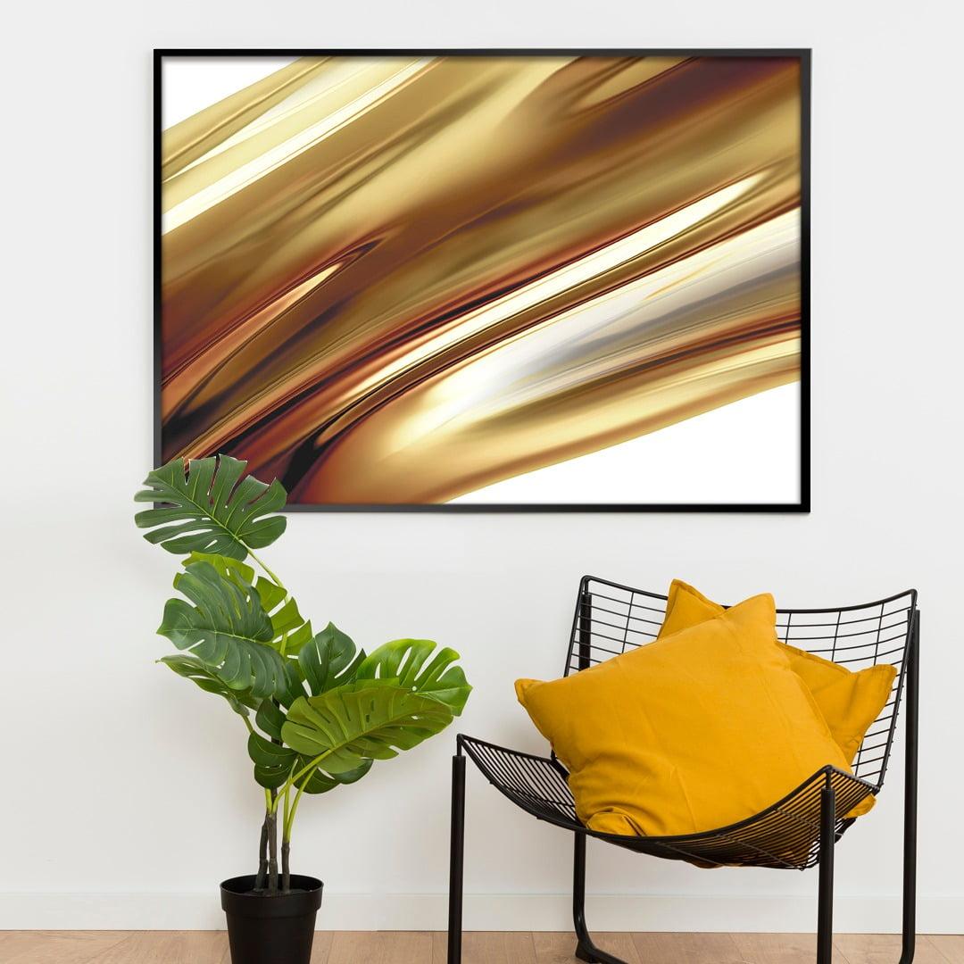 Quadro Decorativo para Sala de Estar Abstrato Riscas Douradas - Linha Prime