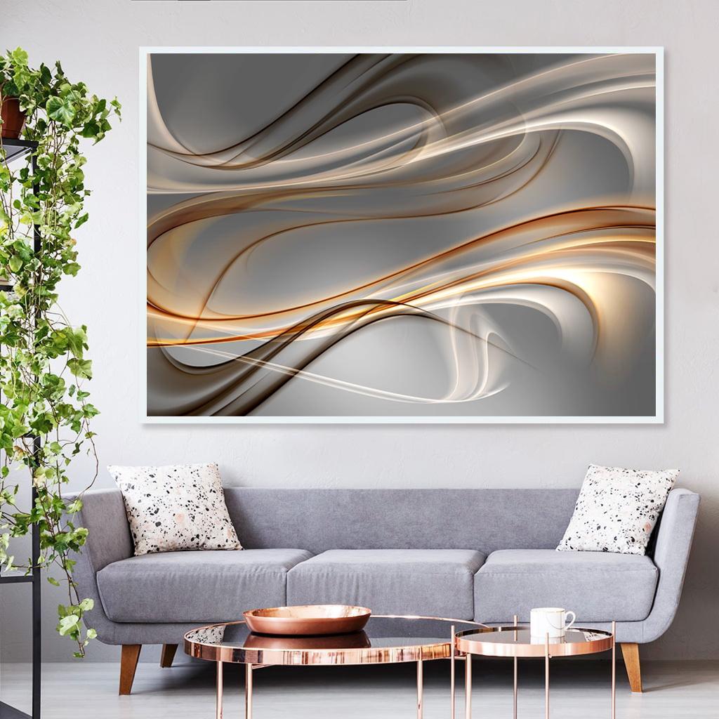 Quadro Decorativo para Sala de Estar Abstrato Wave Aluminium - Linha Prime