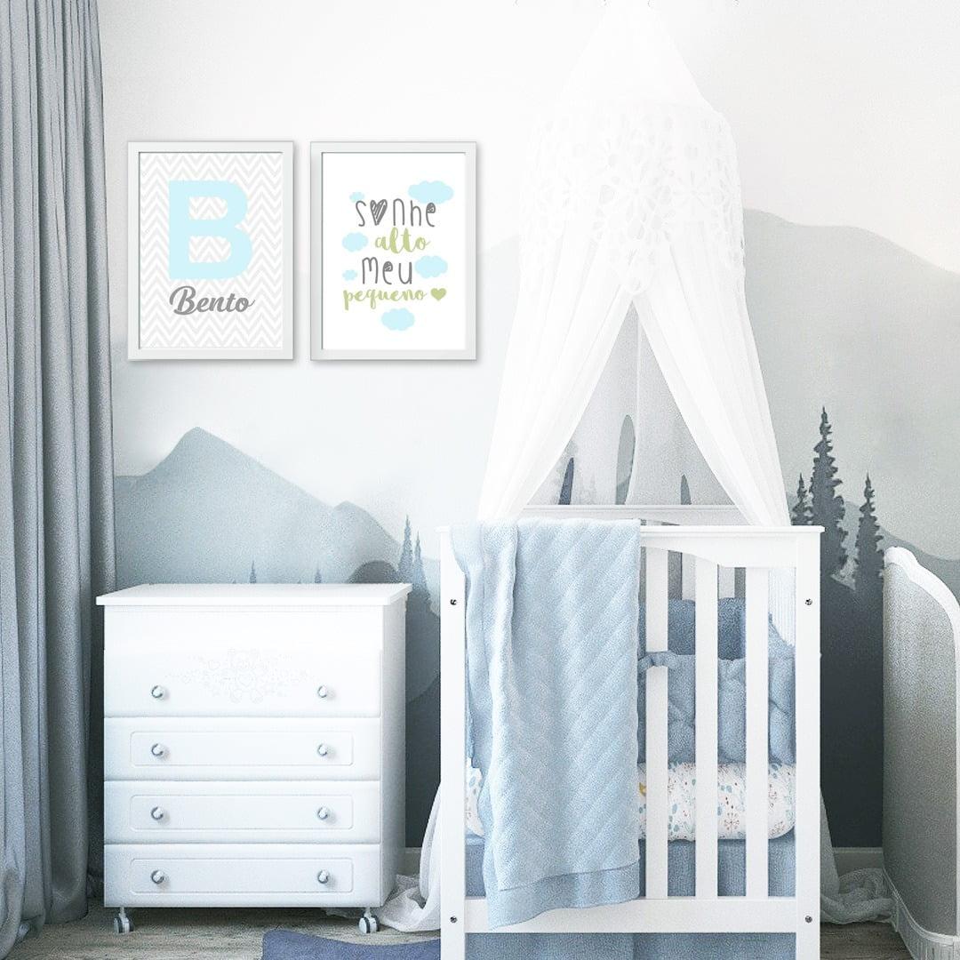 Conjunto de 2 Quadros Decorativos para Quarto Bento - Sonhe Alto - Infantil