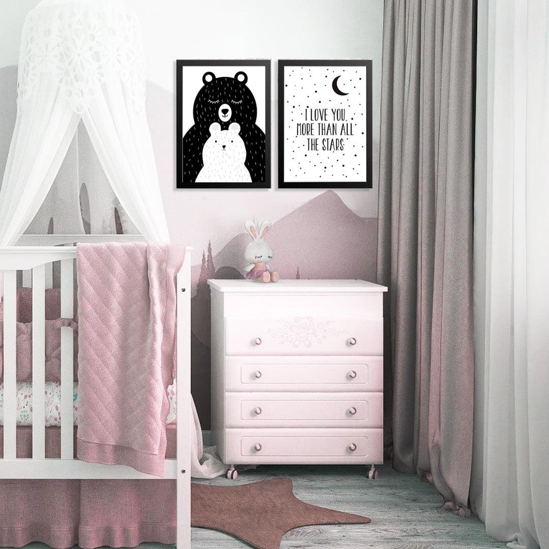 Conjunto de 2 Quadros Decorativos para Quarto I Love More Than All The Stars - Infantil