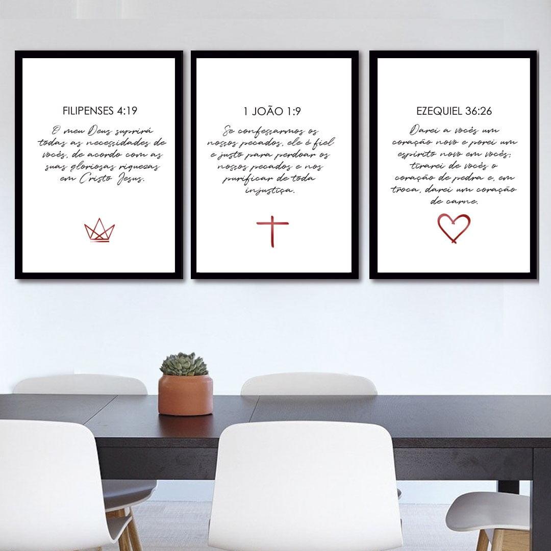 Conjunto de 3 Quadros Corporativo Filipenses, João e Ezequiel - Religiosos