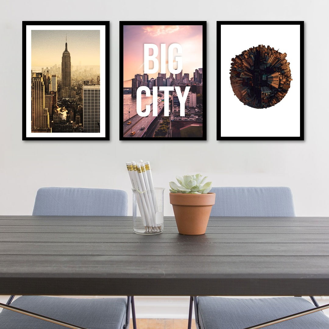 Conjunto de 3 Quadros Decorativos Corporativo Big City