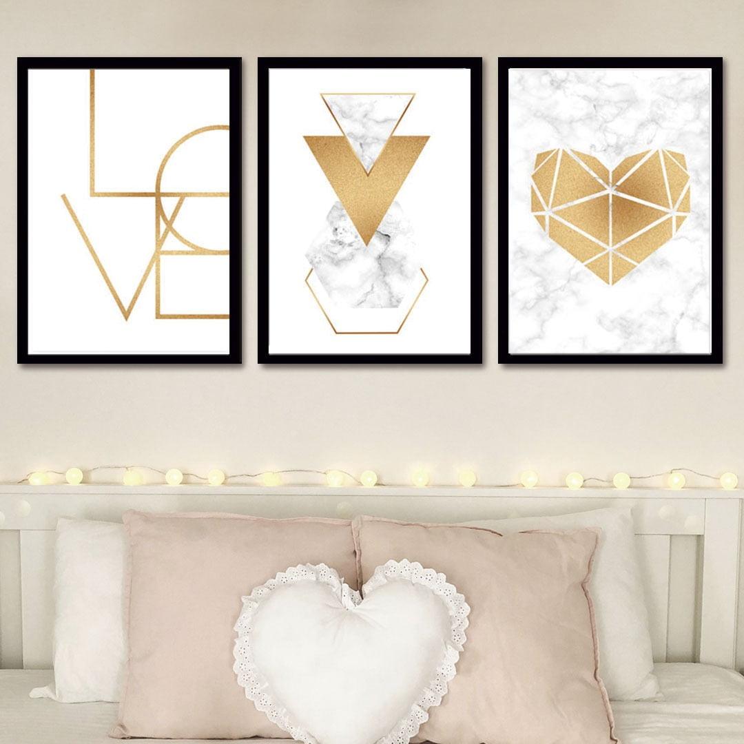 Conjunto de 3 Quadros Decorativos Love Geométricos - Dourado