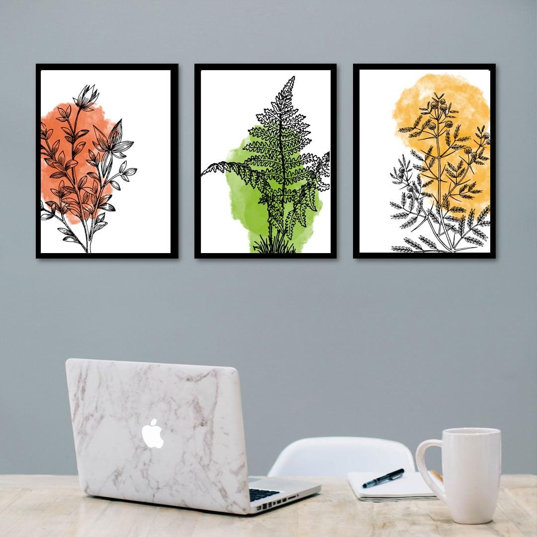Conjunto de 3 Quadros Decorativos Corporativo Plantas - Laranja, Verde e Amarelo