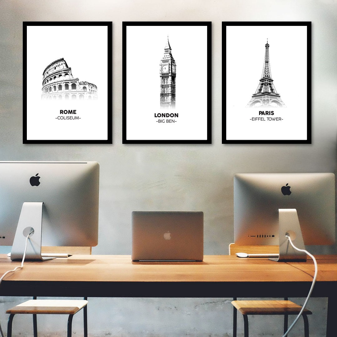 Conjunto de 3 Quadros Decorativos Corporativo Roma, Londres e Paris