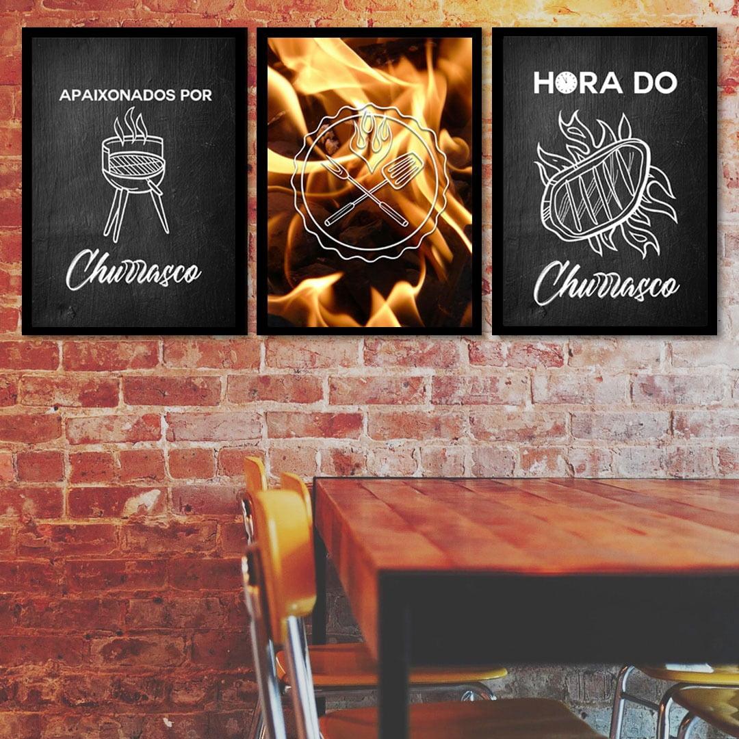 Conjunto de 3 Quadros Decorativos para Espaço Gourmet Apaixonados por Churrasco