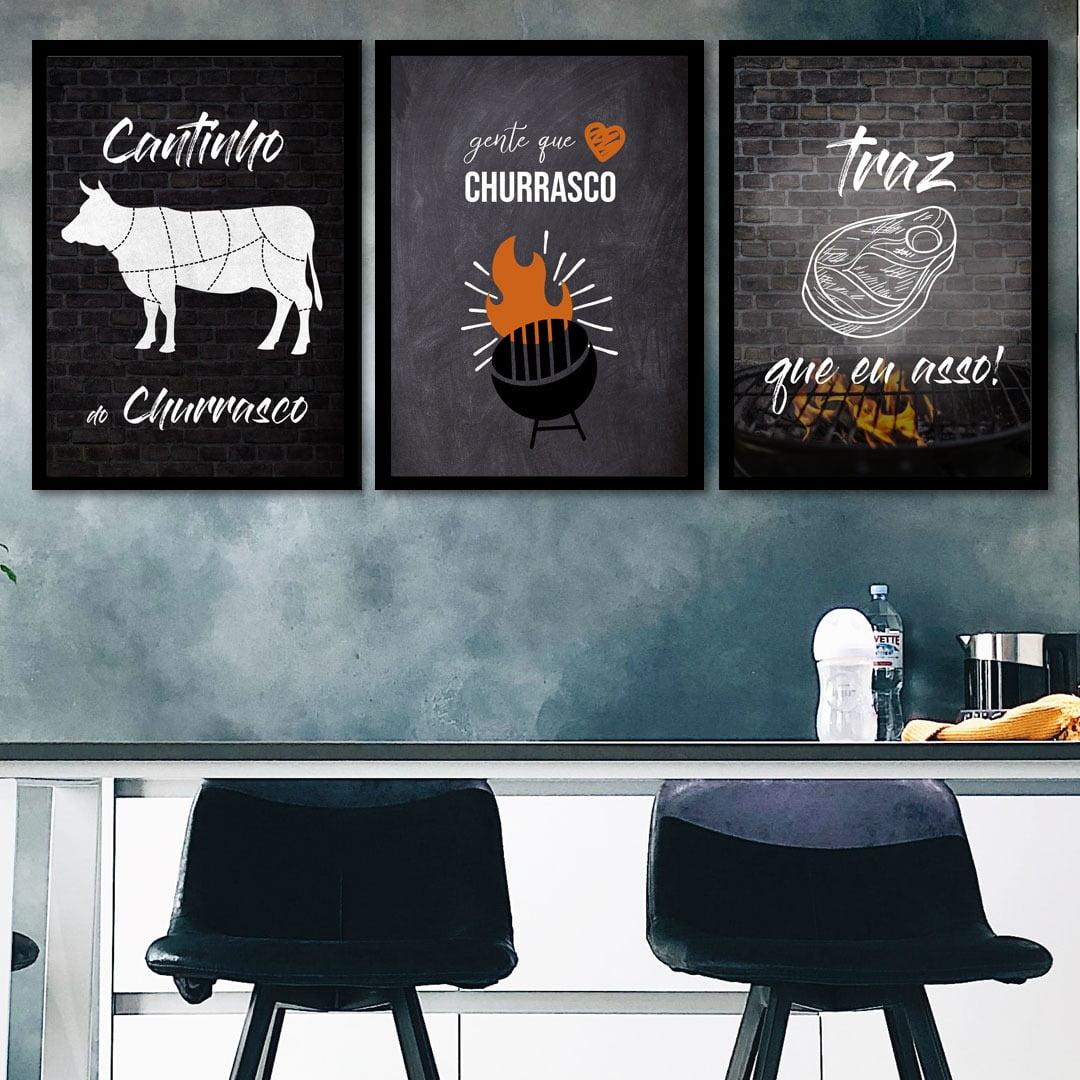 Conjunto de 3 Quadros Decorativos para Espaço Gourmet Cantinho do Churrasco