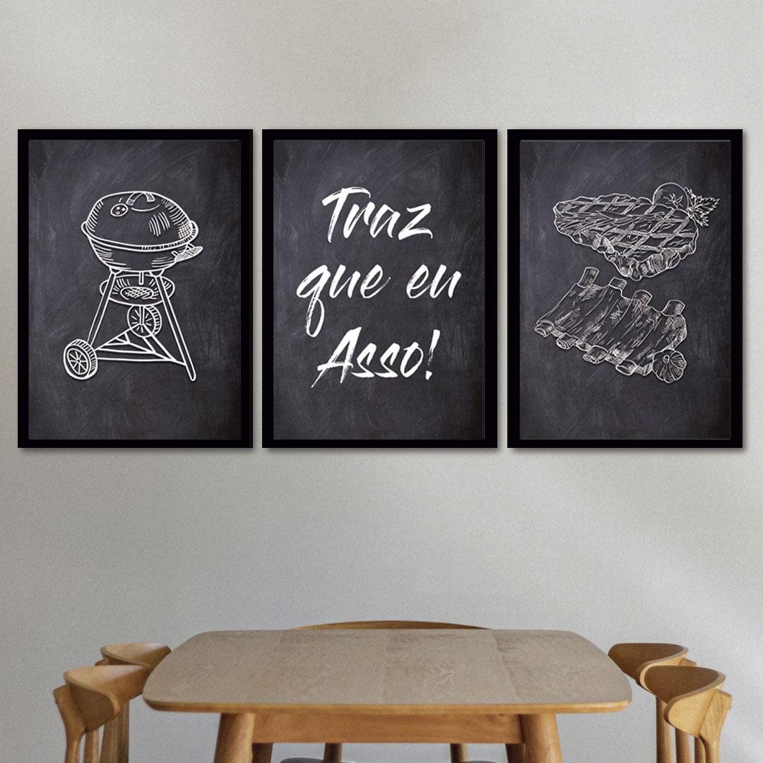 Conjunto de 3 Quadros Decorativos para Espaço Gourmet Traz Que Eu Asso