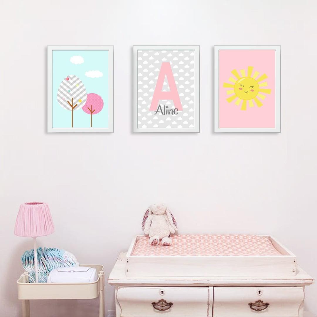 Conjunto de 3 Quadros Decorativos para Quarto Aline - Infantil