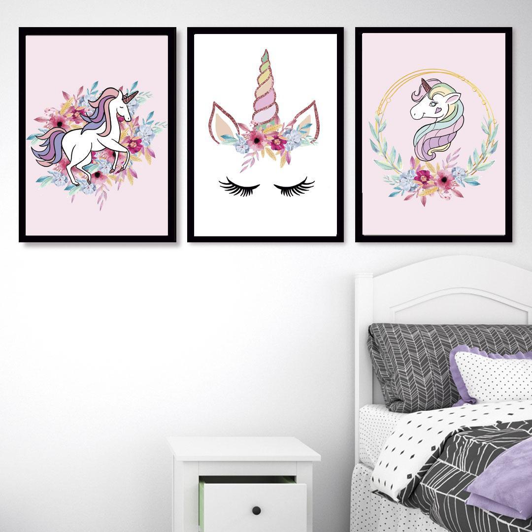 Conjunto de 3 Quadros Decorativos para Quarto Menina Unicórnios - Infantil
