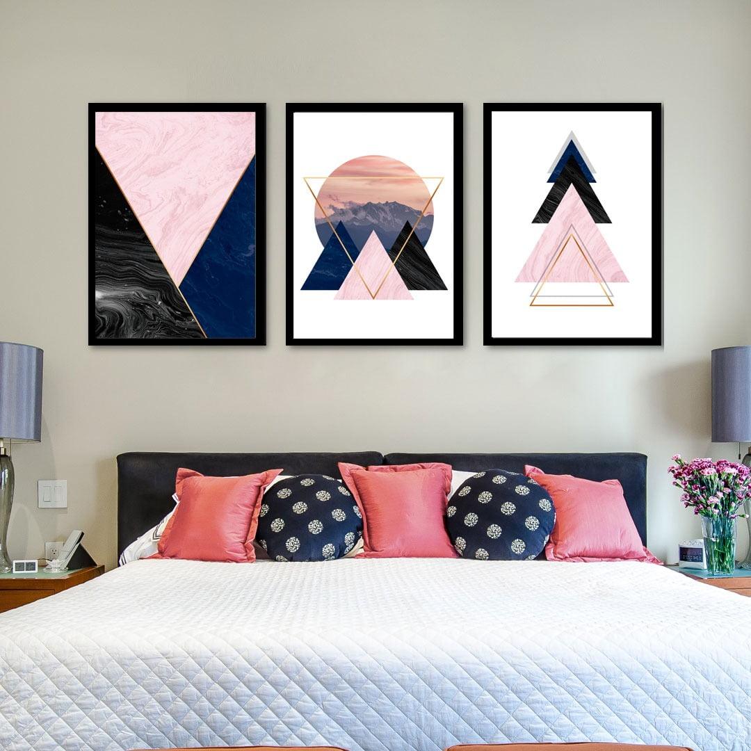 Conjunto de 3 Quadros Decorativos para Quarto Triângulos Geométricos e Montanhas - Rose e Azul
