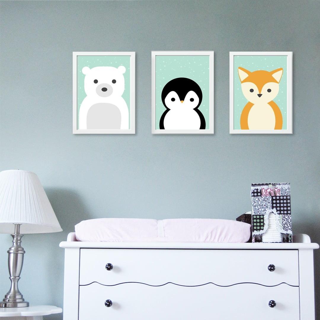 Conjunto de 3 Quadros Decorativos para Quarto Urso, Pinguim e Raposa - Infantil