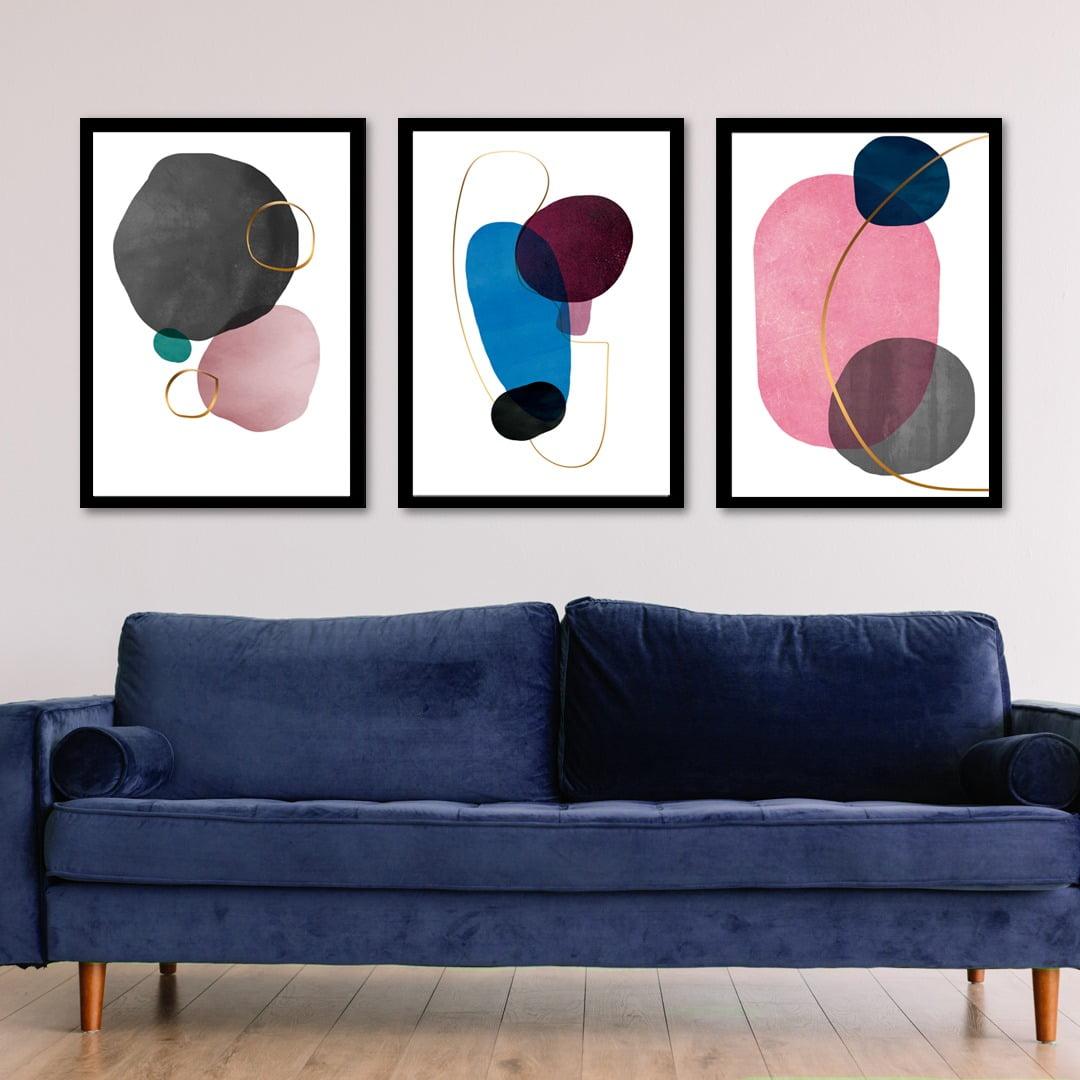 Conjunto de 3 Quadros Decorativos para Sala Círculos - Abstratos