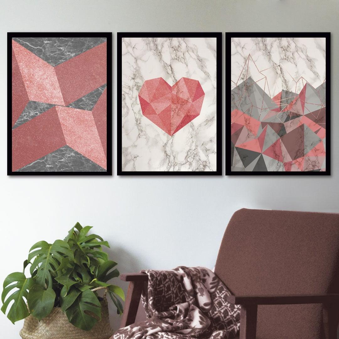 Conjunto de 3 Quadros Decorativos para Sala Coração e Formas Geométricas - Geométricos