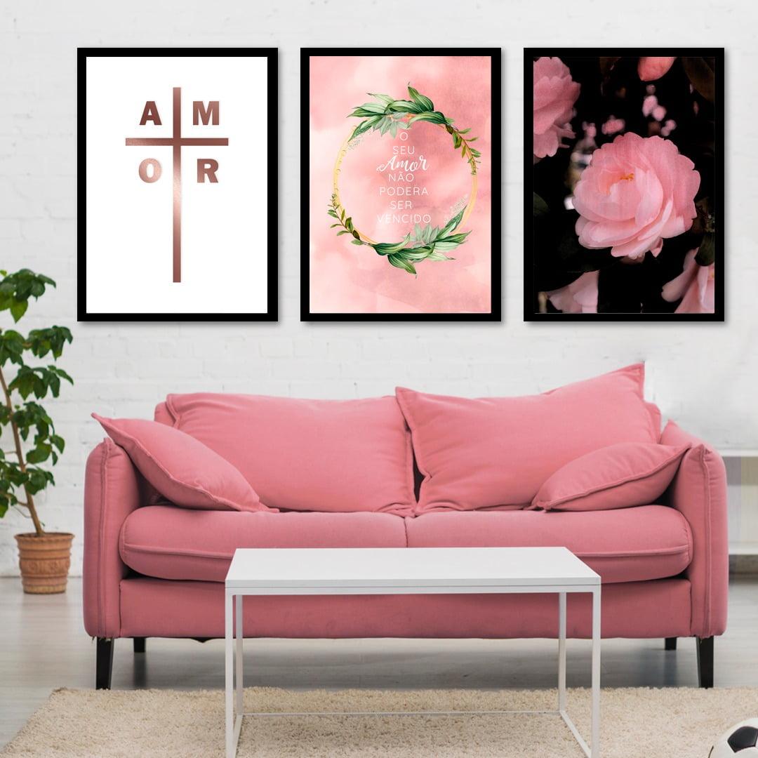 Conjunto de 3 Quadros Decorativos para Sala de Estar Amor - Religiosos