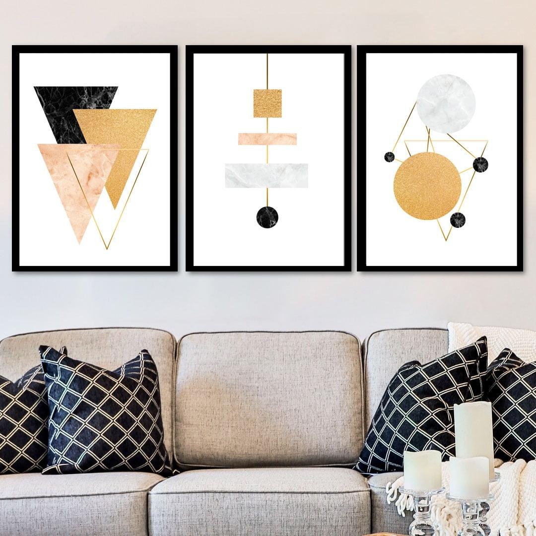 Conjunto de 3 Quadros Decorativos para Sala Formas Geométricas II - Geometricos - Gold Black