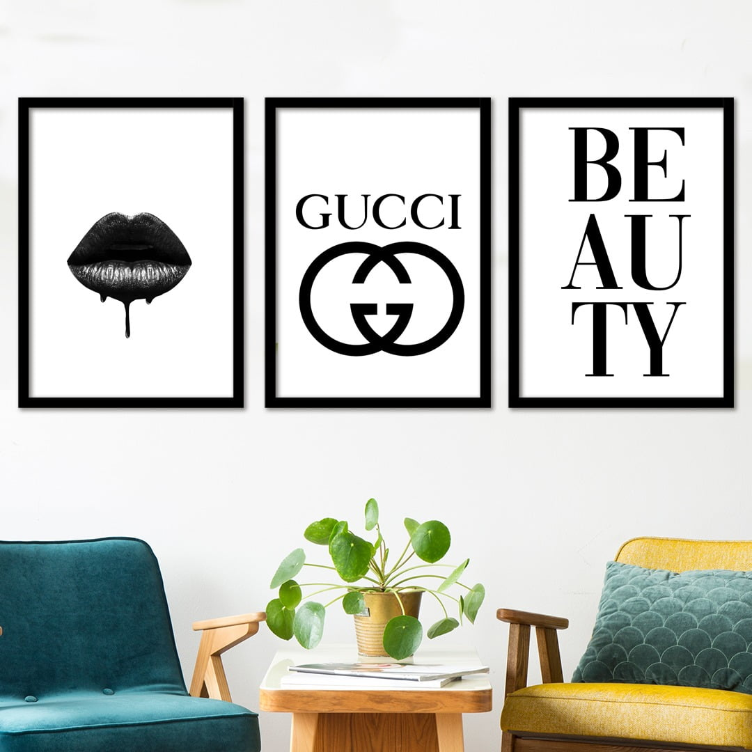 Conjunto de 3 Quadros Decorativos para Sala Gucci Beauty - Grife