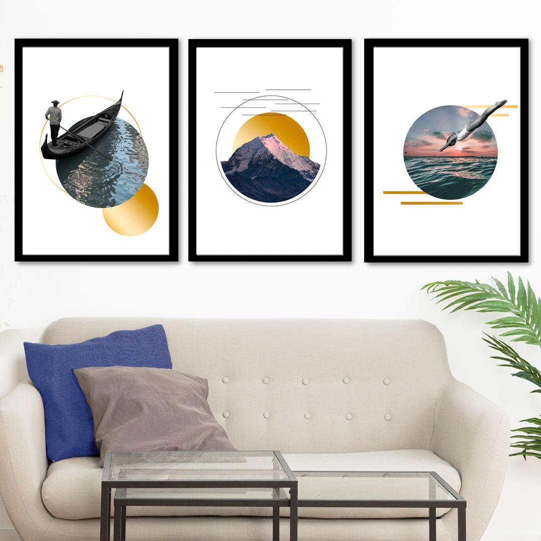Conjunto de 3 Quadros Decorativos para Sala Lago, Montanha e Mar - Paisagens