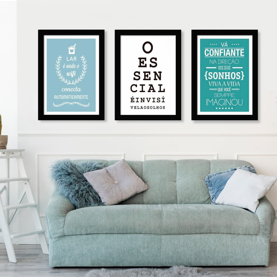 Conjunto de 3 Quadros Decorativos para Sala O Essencial É Invisível aos Olhos - Frases