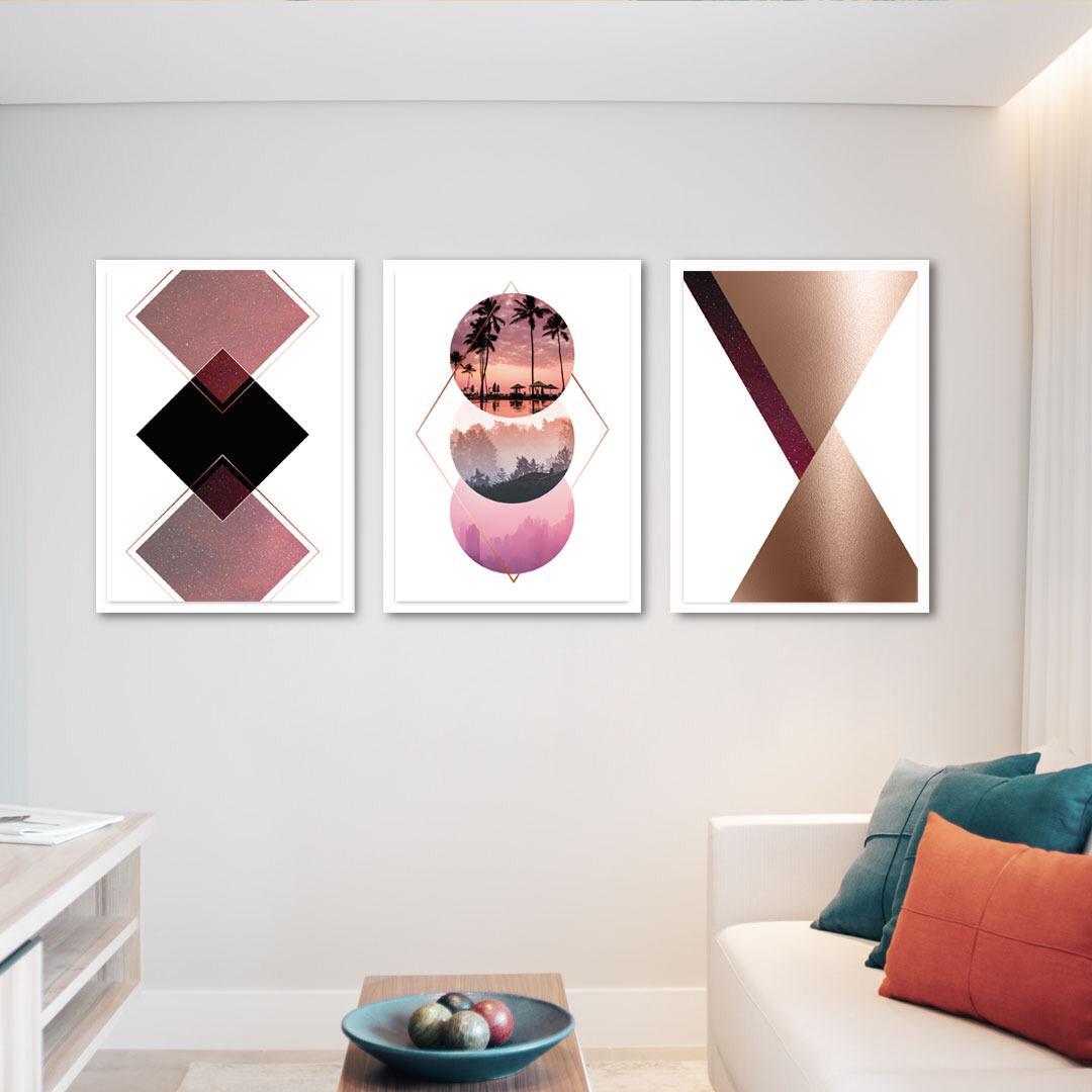 Conjunto de 3 Quadros Decorativos para Sala Paisagem e Formas - Geométricos - Rose