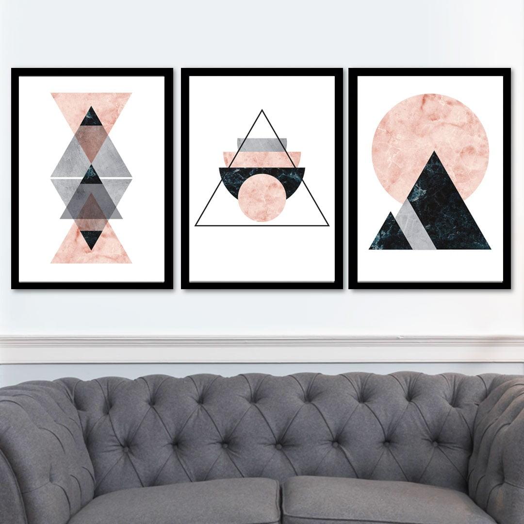 Conjunto de 3 Quadros Decorativos para Sala Triângulos e Círculos - Rosa - Geométricos