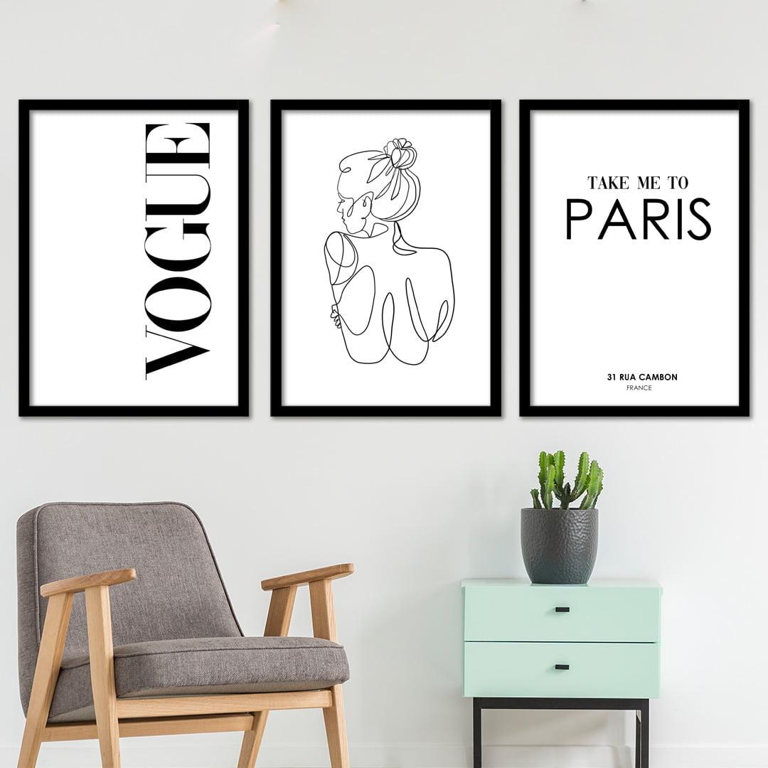 Conjunto de 3 Quadros Decorativos para Sala Vogue Take Me To Paris - Moda