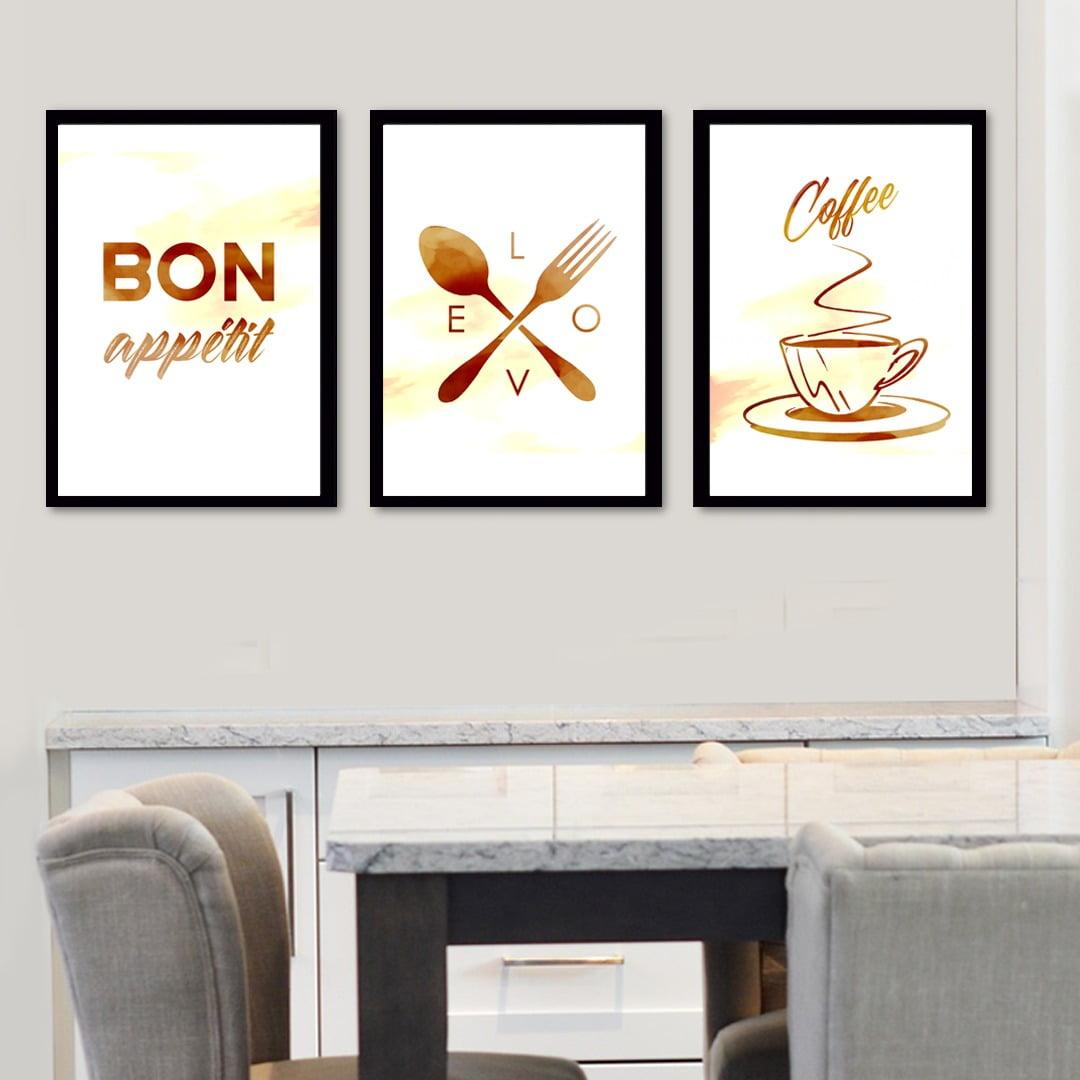 Conjunto de 3 Quadros Decorativos para Cozinha Bon Appetit