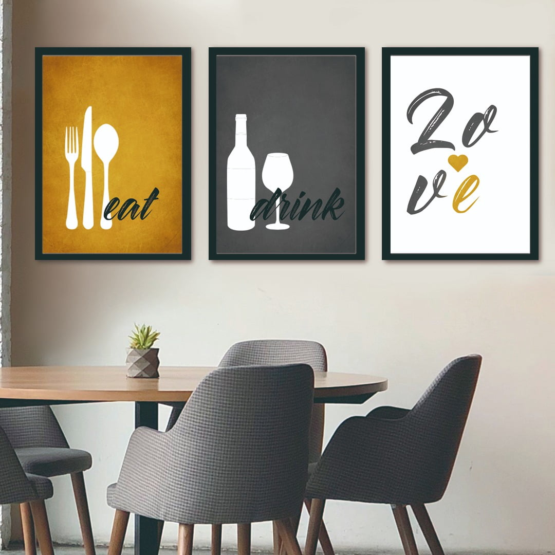 Conjunto de 3 Quadros Decorativos para Cozinha Eat, Drink e Love