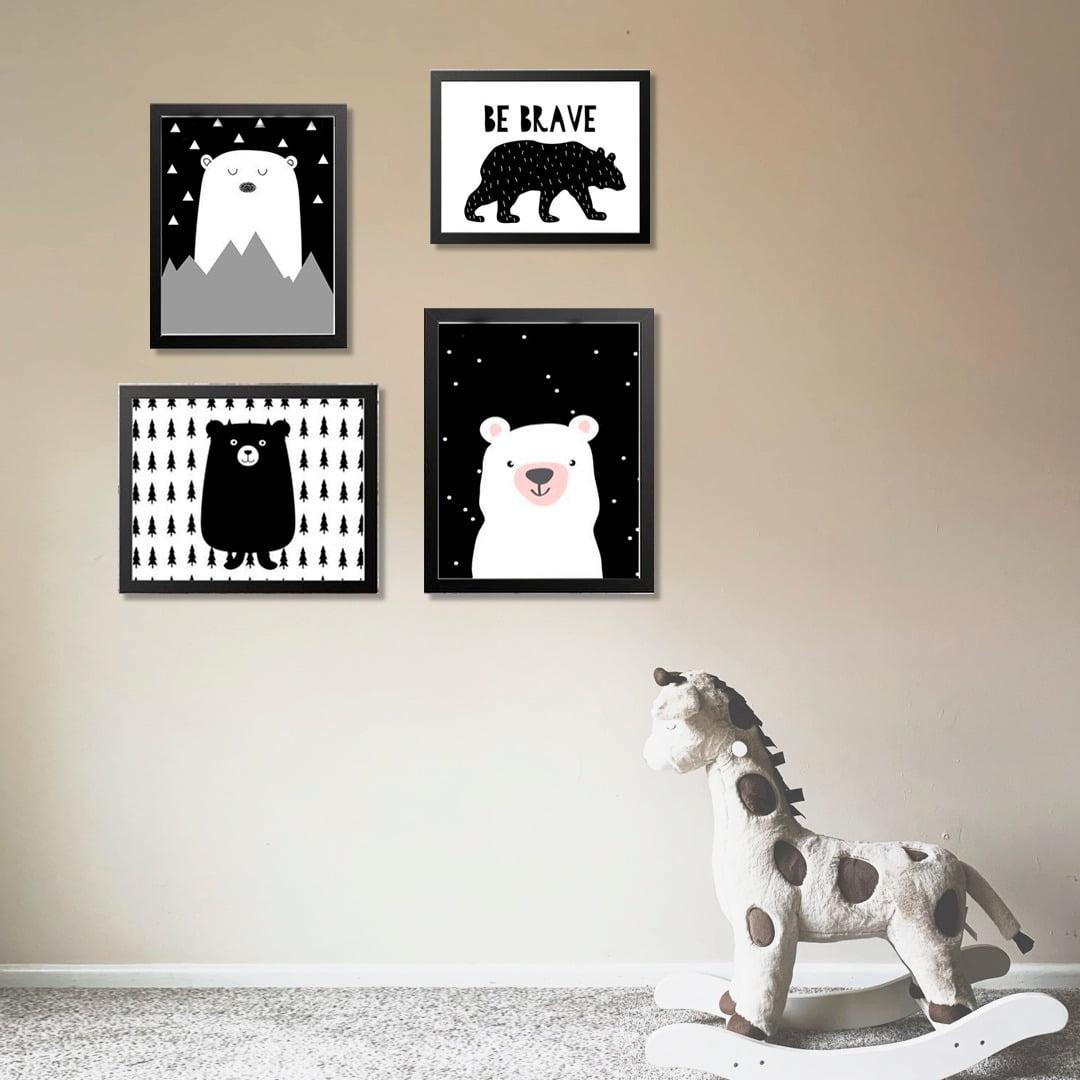 Conjunto de 4 Quadros Decorativos para Quarto Be Brave Ursos - Infantil