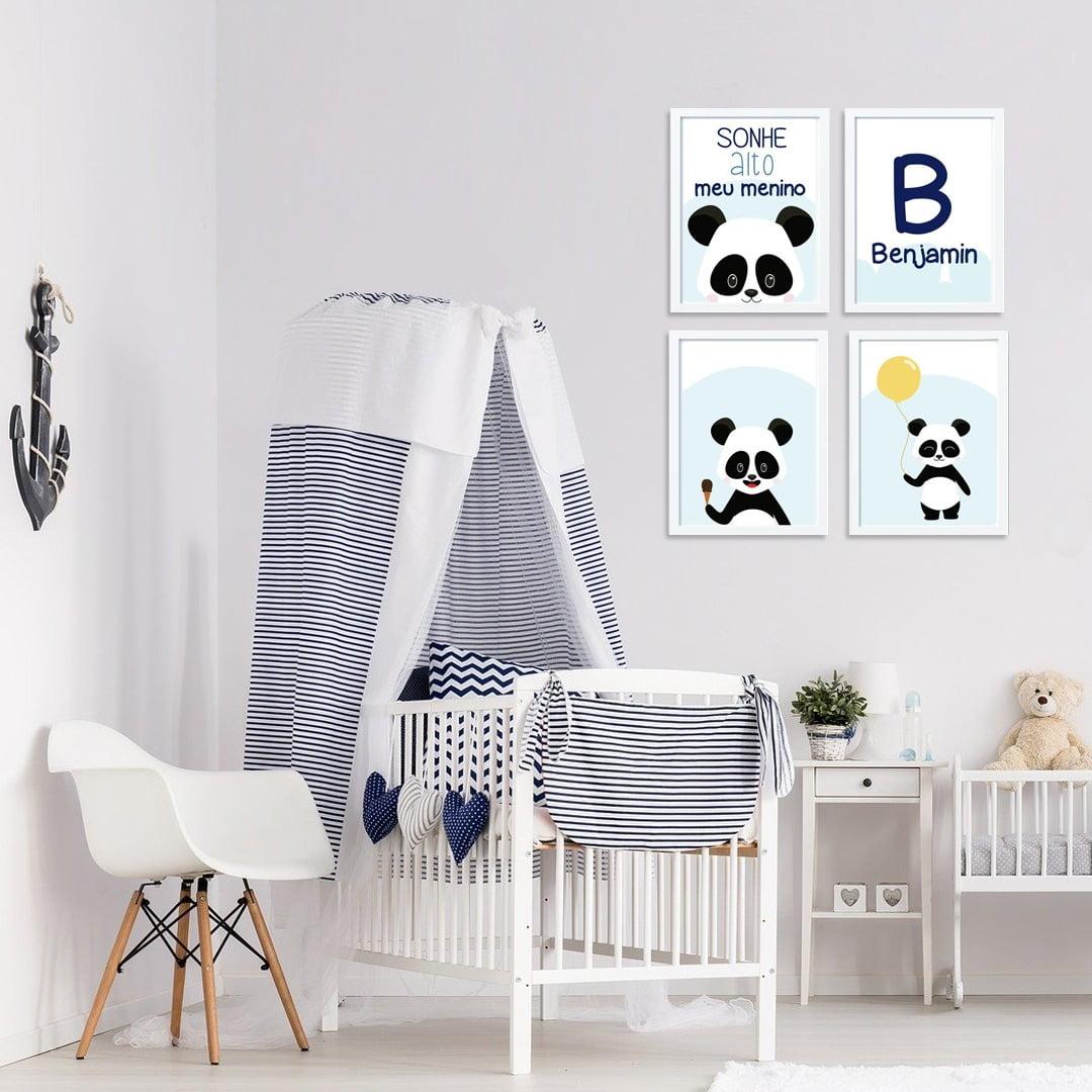 Conjunto de 4 Quadros Decorativos para Quarto Benjamin Sonhe Alto - Infantil
