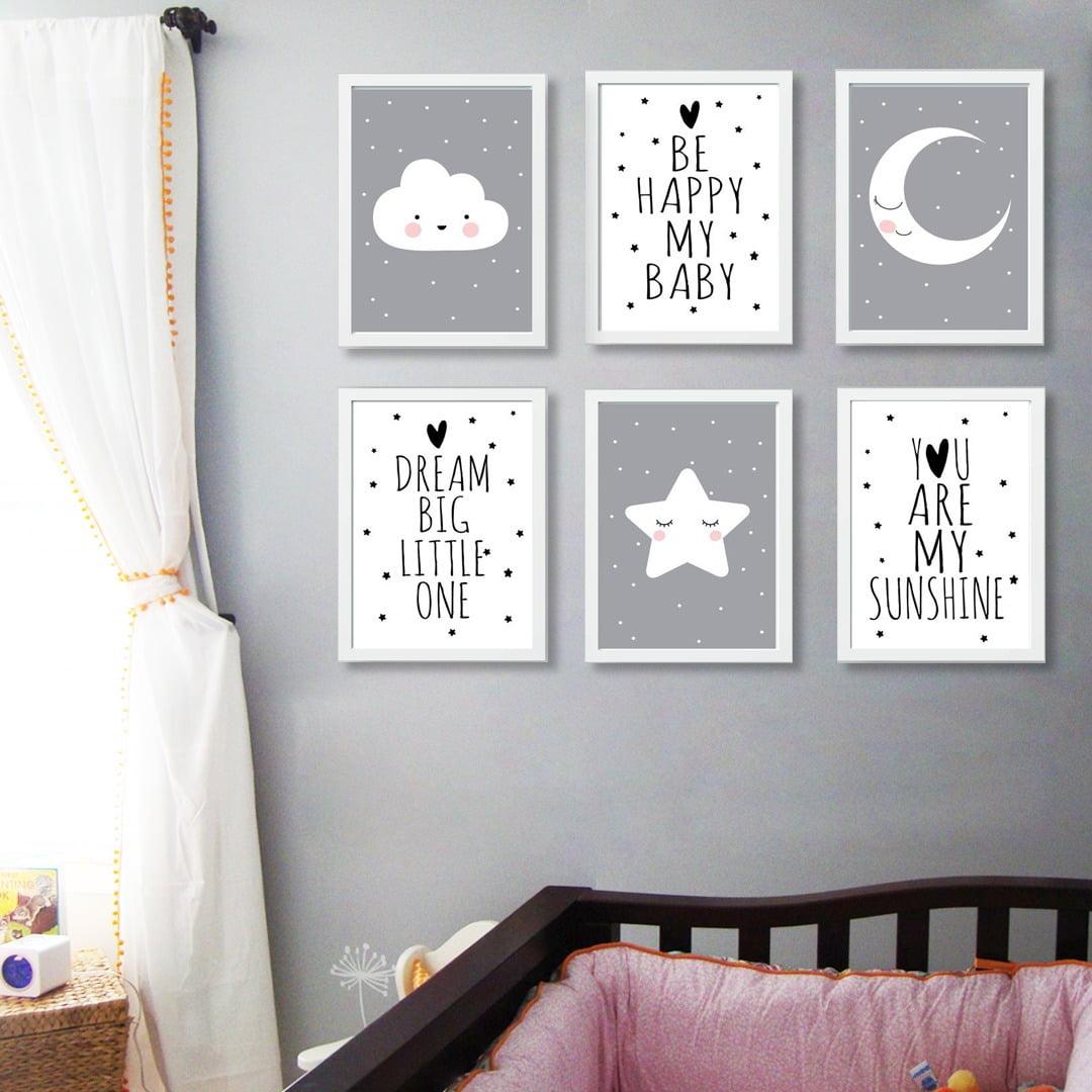 Conjunto de 6 Quadros Decorativos para Quarto Be Happy My Baby - Infantil