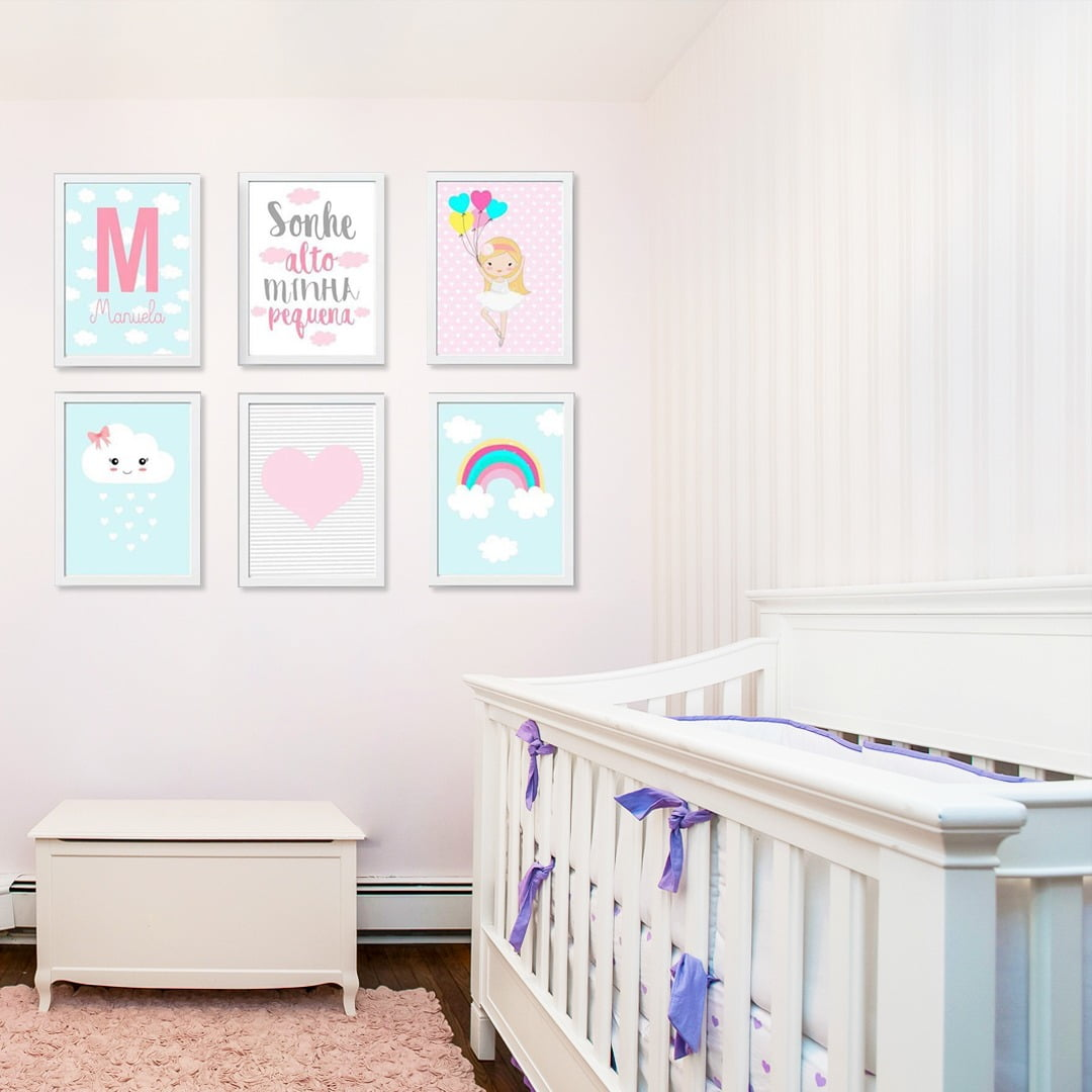 Conjunto de 6 Quadros Decorativos para Quarto Manuela - Infantil