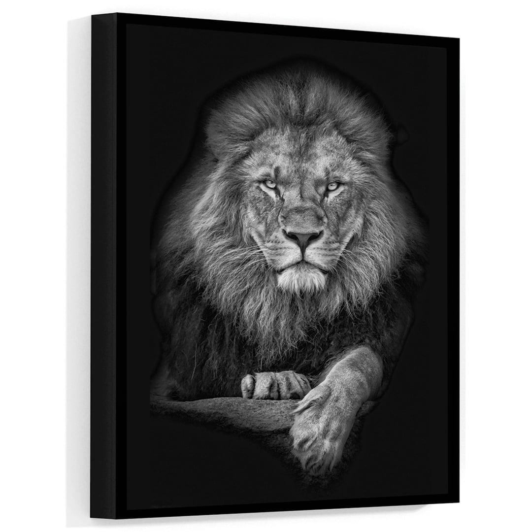 Quadro Decorativo para Sala Leão Black - Mundo Animal