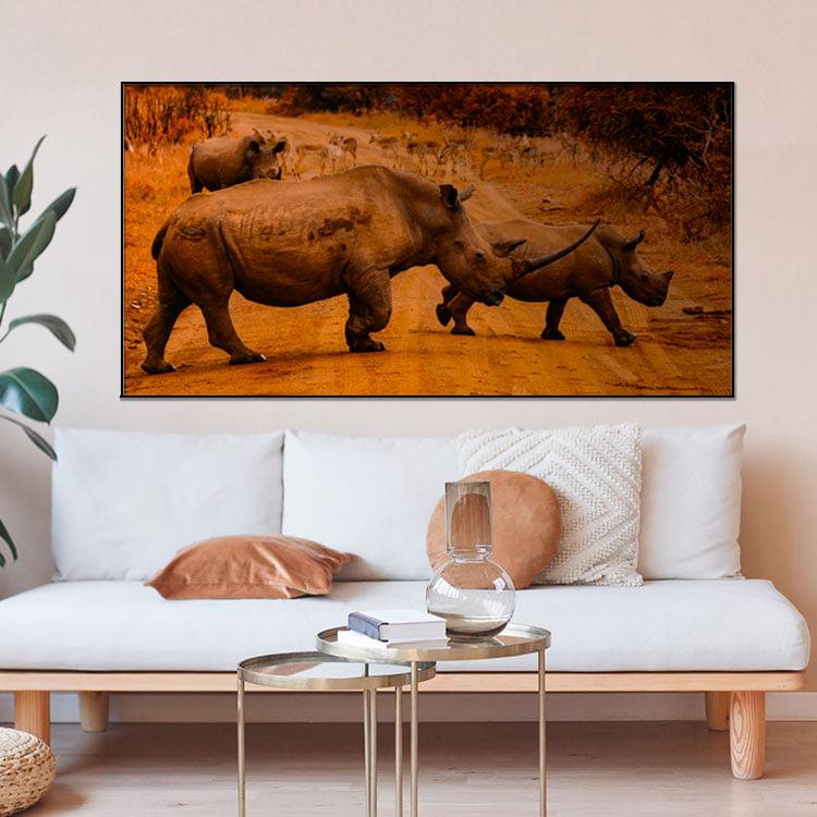 Tela Inteira Decorativa para Sala de Estar Rinoceronte I - Mundo Animal