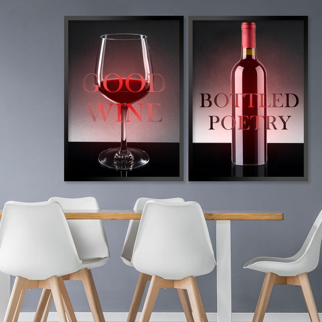 Conjunto de 2 Quadros Decorativos - Good  wine bottled poetry- Vinhos  -