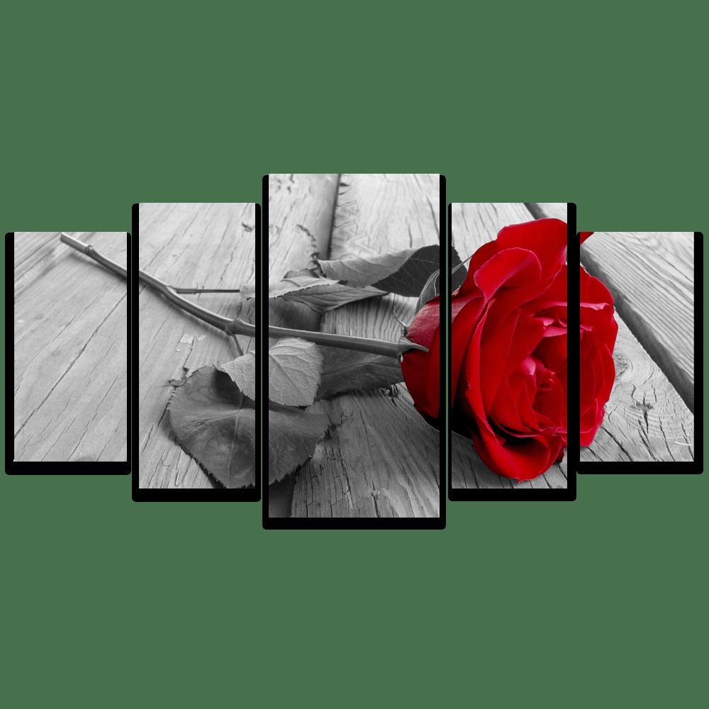 Tela Canvas para Sala 5 Peças Rosa Vermelha em Preto Branco - Corporativo