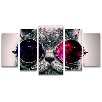 Tela Canvas para Sala e Quarto 5 Peças Gato de Óculos
