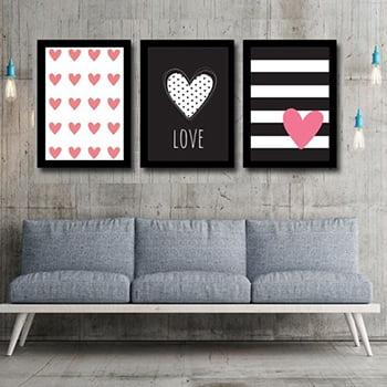 Kit Quadro Decorativo para Sala de Estar Love Black and Red 3 Peças - Corações