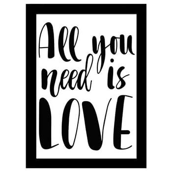 Kit Quadro Decorativo para Sala de Estar All You Need Is Love 3 Peças - Corações - Black Friday